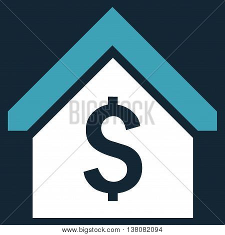 Loan Mortgage vector icon. Style is bicolor flat symbol, blue and white colors, dark blue background.