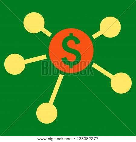 Bank Branches vector icon. Style is bicolor flat symbol, orange and yellow colors, green background.