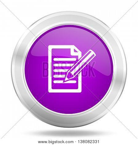 subscribe round glossy pink silver metallic icon, modern design web element