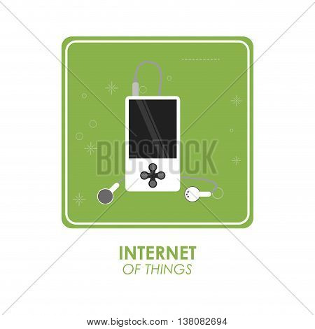 Internet of things concept represented by mp3 icon over frame shape. Isolated and flat illustration.