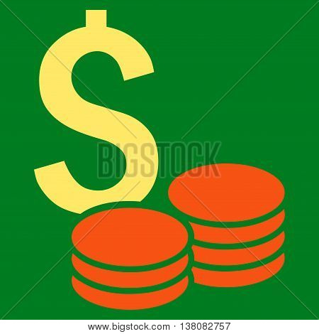 Dollar Cash vector icon. Style is bicolor flat symbol, orange and yellow colors, green background.