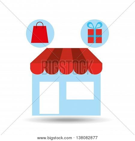 shopping store with gift icon, vector illustration