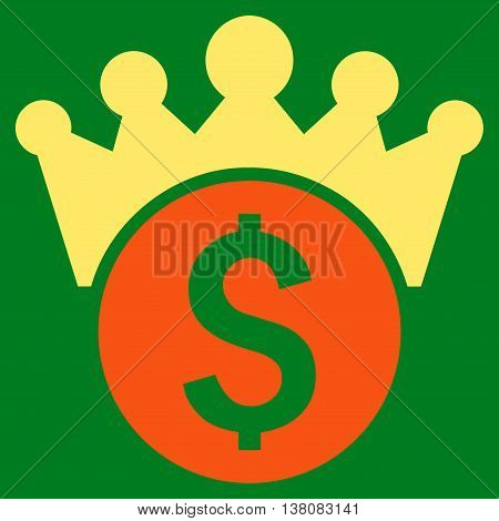 Financial Power vector icon. Style is bicolor flat symbol, orange and yellow colors, green background.