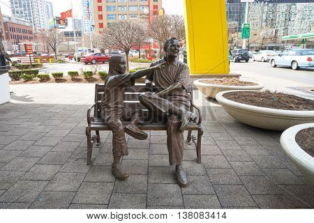 CHICAGO, IL -  MARCH 31, 2016: a statue outside of the Rock N Roll McDonald's. The Original Rock N Roll McDonald's is a flagship McDonald's restaurant located in Chicago, Illinois