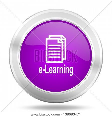 learning round glossy pink silver metallic icon, modern design web element