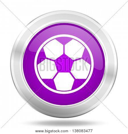 soccer round glossy pink silver metallic icon, modern design web element