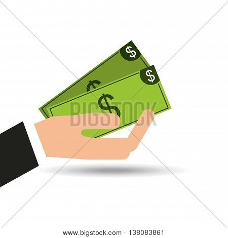hand with money, ecommerce shopping icon, vector illustration