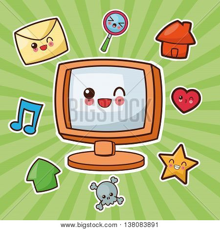 Technology and social media concept represented by kawaii computer icon. Colorfull and flat illustration.
