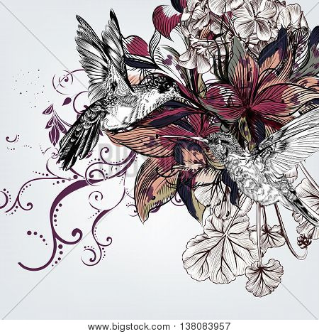 Hand drawn vector background with lily flowers and hummingbirds