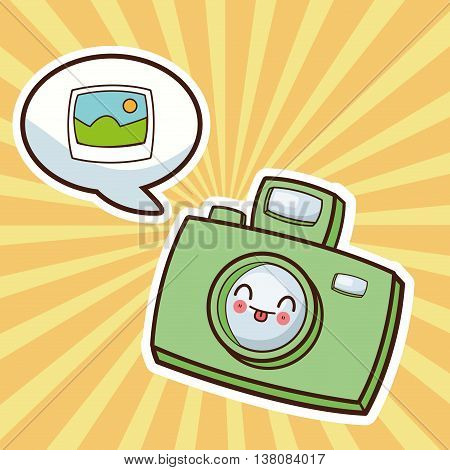 Technology and social media concept represented by kawaii camera icon. Colorfull and flat illustration.