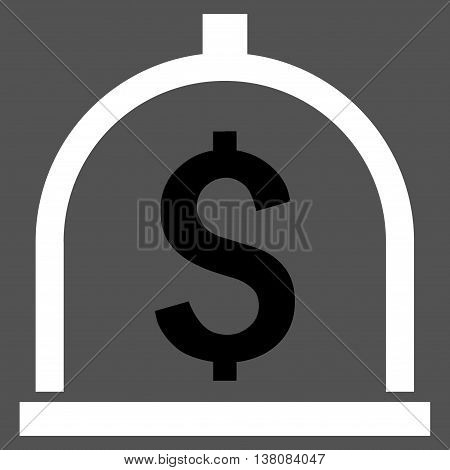 Dollar Deposit vector icon. Style is bicolor flat symbol, black and white colors, gray background.