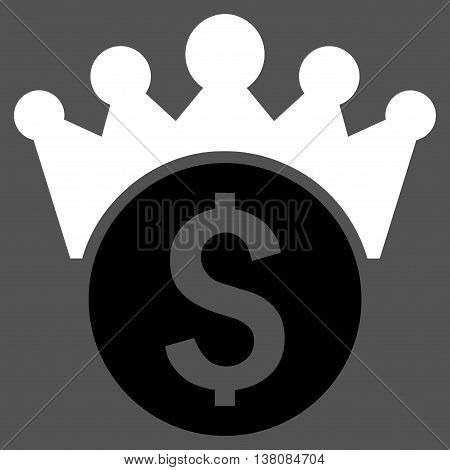 Financial Power vector icon. Style is bicolor flat symbol, black and white colors, gray background.