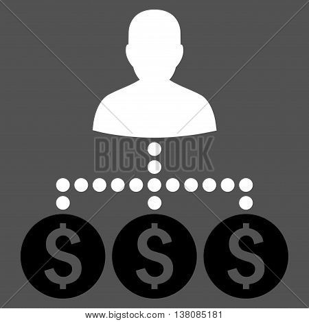 Money Collector vector icon. Style is bicolor flat symbol, black and white colors, gray background.