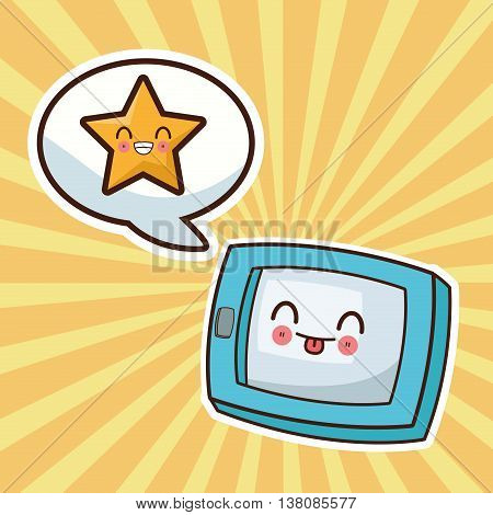 Technology and social media concept represented by kawaii tablet icon. Colorfull and flat illustration.