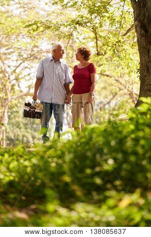Senior Man Woman Old Couple Walking With Picnic Basket
