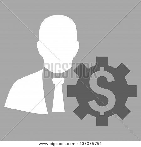Banker Options vector icon. Style is bicolor flat symbol, dark gray and white colors, silver background.