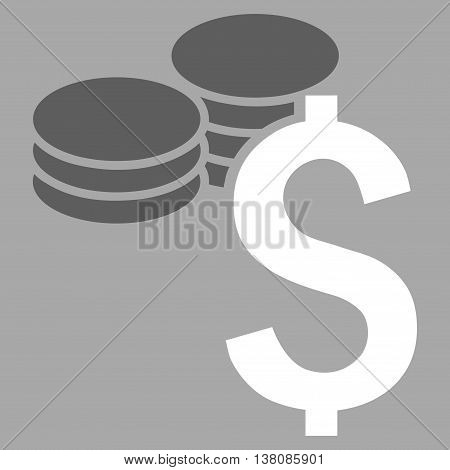 Dollar Coins vector icon. Style is bicolor flat symbol, dark gray and white colors, silver background.