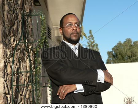 African American Business Man In Deep Thought