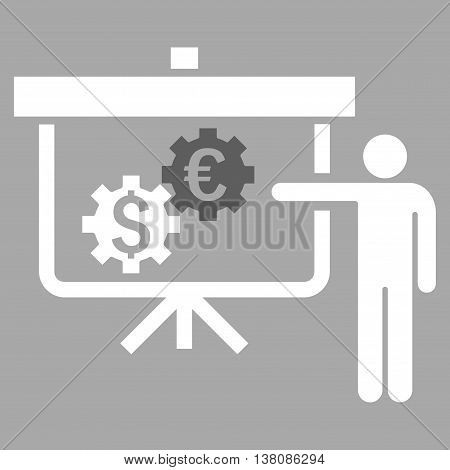 International Banking Project vector icon. Style is bicolor flat symbol, dark gray and white colors, silver background.