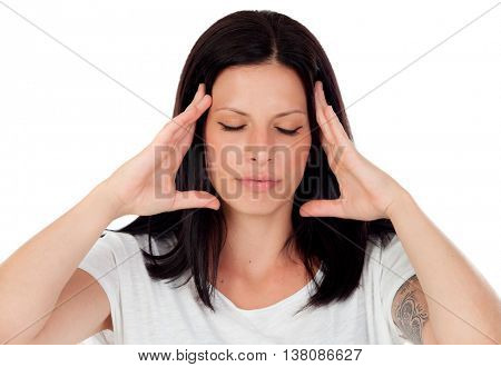Brunette girl with headache isolated on a white background