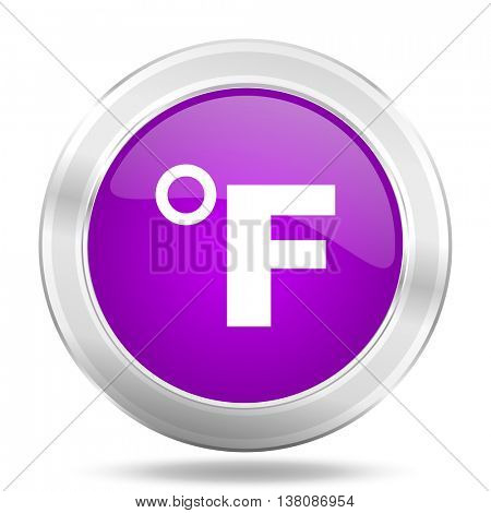 fahrenheit round glossy pink silver metallic icon, modern design web element