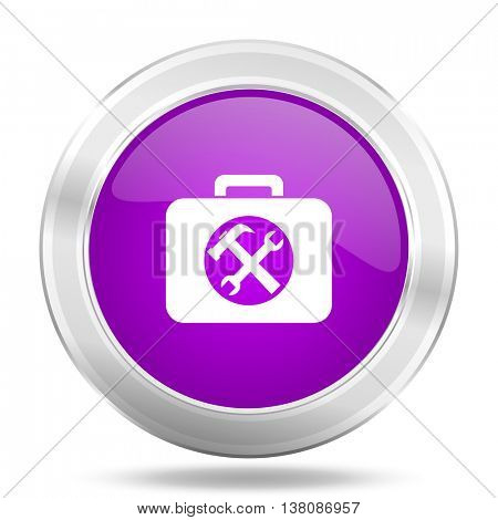 toolkit round glossy pink silver metallic icon, modern design web element