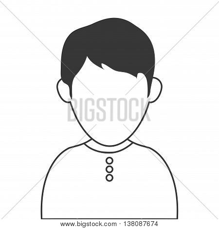 simple flat design faceless man wearing casual clothes portrait icon vector illustration