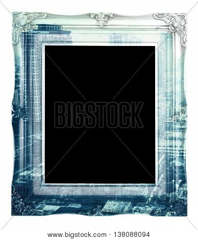 Double Exposure Of Vintage Photo Frame And City Landscape View Isolated On White Background, Double