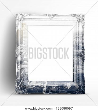 Double Exposure Of Vintage Photo Frame And Black And White City Landscape View In White Studio Room,