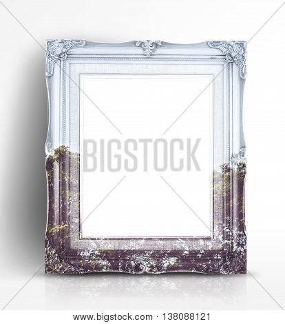 Double Exposure Of Vintage Photo Frame And Tree Landscape View In White Studio Room, Double Exposure