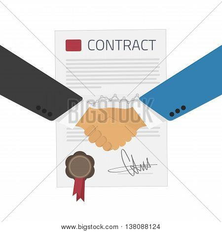 Vector illustration handshake of businessmen on the background of the contract. Signing of a treaty business contract. Partnership flat illustration Handshake, Greeting against the contract.