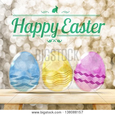 Happy Easter Day : Three Colorful Glitter transparency glass egg on wood table with golden sparkling background.(3d rendering)