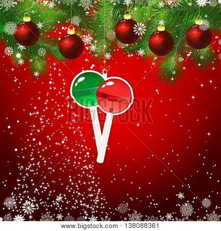 New Year design background. Template card whit red Christmas balls on the green branches . Silhouette of a Christmas tree made of stars. Falling snow. Toy decorative lollypops.