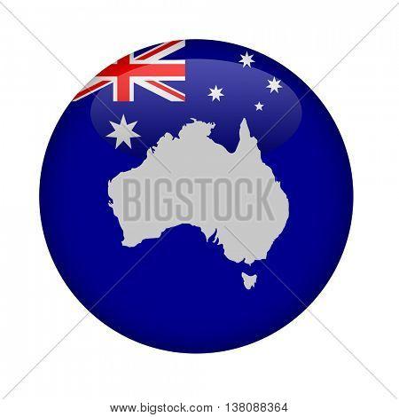 Australia map button on a white background.