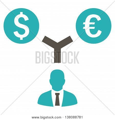 Currency Management vector icon. Style is bicolor flat symbol, grey and cyan colors, white background.