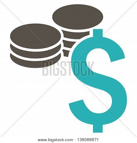 Dollar Coins vector icon. Style is bicolor flat symbol, grey and cyan colors, white background.
