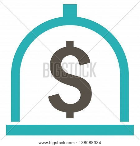 Dollar Deposit vector icon. Style is bicolor flat symbol, grey and cyan colors, white background.