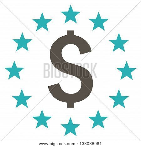 Dollar Stars vector icon. Style is bicolor flat symbol, grey and cyan colors, white background.
