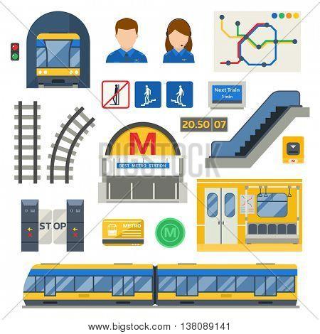 Metro underground symbols vector set.