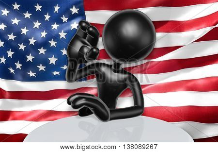 United States Of America U.S. Flag Concept 3D Illustration