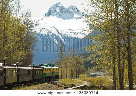 SKAGWAY ALASKA USA - MAY 14 2011: Scenic Railroad on White Pass and Yukon Route in Skagway Alaska