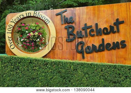VICTORIA BRITISH COLUMBIA CANADA - AUGUST 11 2011: The Sign of the Butchart Gardens in Victoria BC. Butchart Gardens is a Group of Floral Display Gardens and it Becomes National Historic Site of Canada.