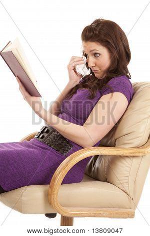 Woman Side View Sad Reading Tissue