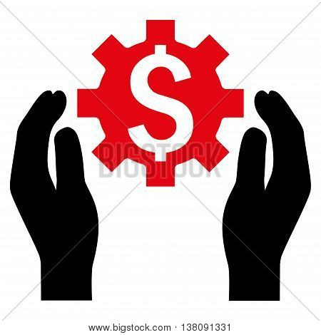 Financial Insurance Options vector icon. Style is bicolor flat symbol, intensive red and black colors, white background.