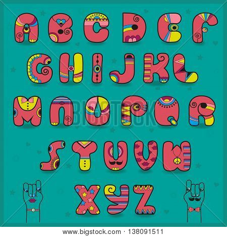 Candy Alphabet. Funny pink and yellow letters. Unusual artistic font. Cartoon hands looking at each other. Illustration