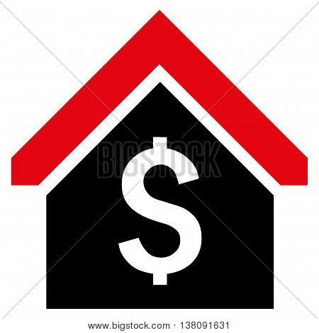 Loan Mortgage vector icon. Style is bicolor flat symbol, intensive red and black colors, white background.