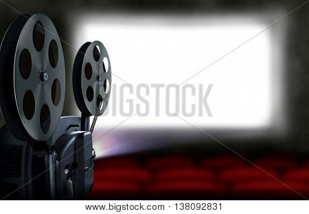 3D rendering cinema projector with empty seats