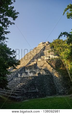 Ruins Of Pyramid In The Ancient Mayan City Of Becan, Mexico