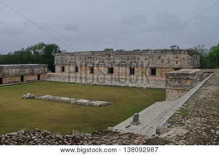The Archaeological Area Uxmal, The Ruins Of The Palace.