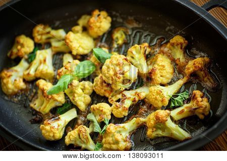 cauliflower baked in batter in the pan